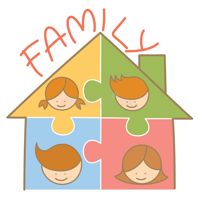 familjjigsawhus royaltyfri illustrationer