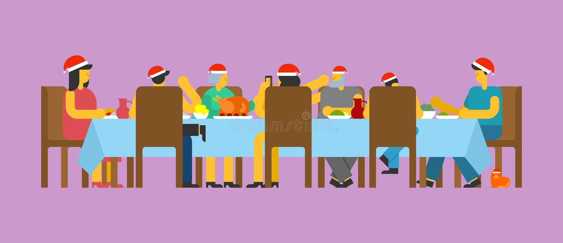 Familjjulmatställe Stor tabell Röd lockjultomten ferielunc royaltyfri illustrationer