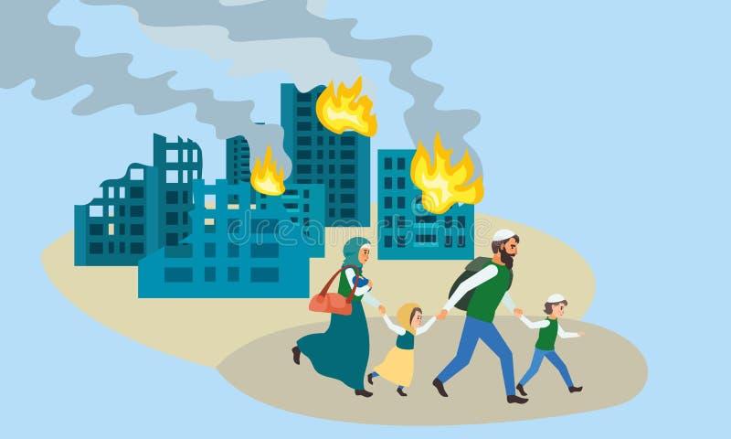 Familjkörningen bort förstörde stadsbegreppsbanret, plan stil vektor illustrationer