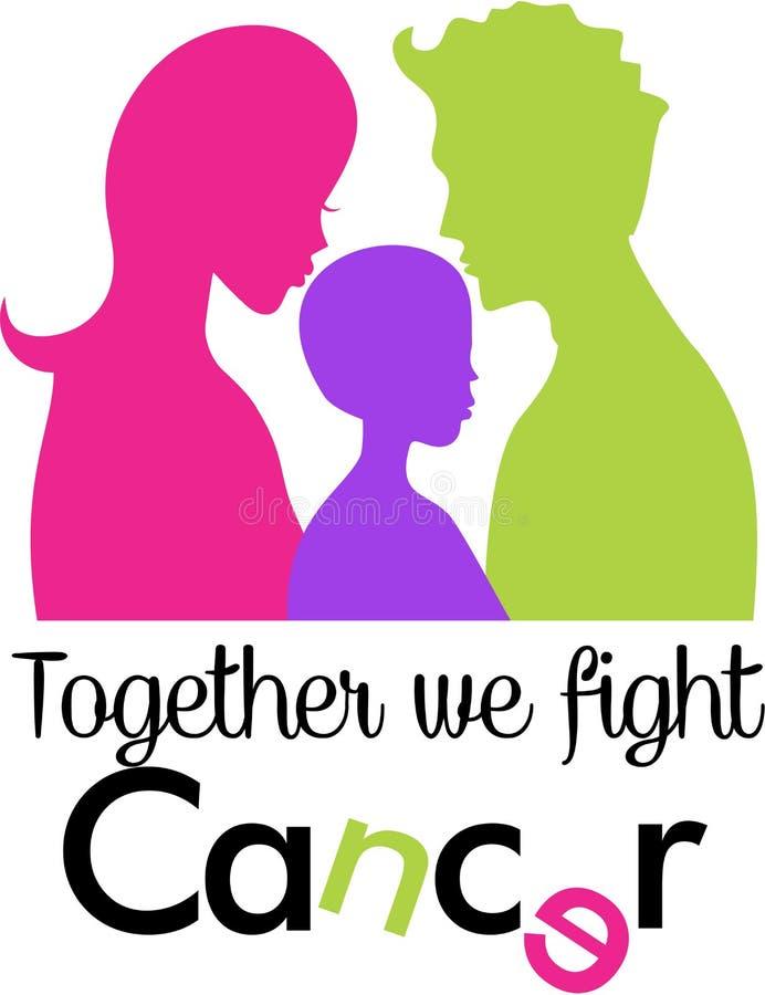 Familjkampcancer tillsammans royaltyfri illustrationer