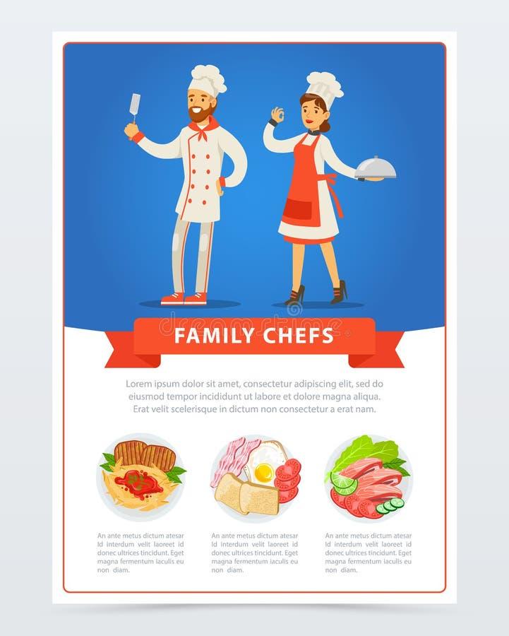 Familjkockar i köklikformig och meny med olik disk vektor illustrationer