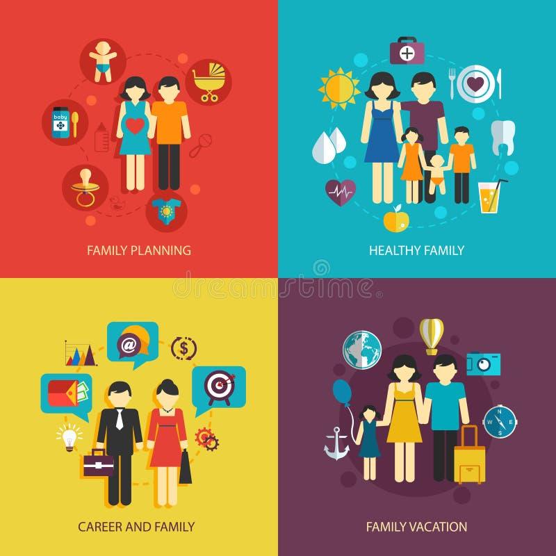Familjlägenhetuppsättning vektor illustrationer