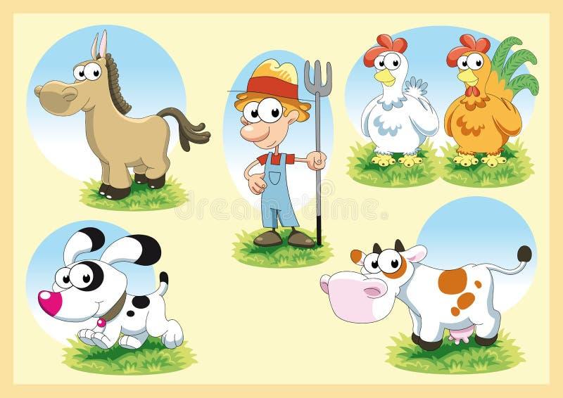 familjlantgård stock illustrationer