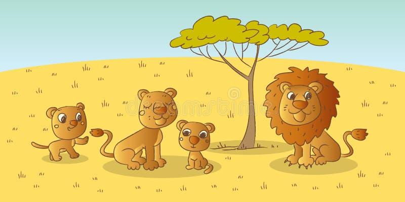 familjlion vektor illustrationer