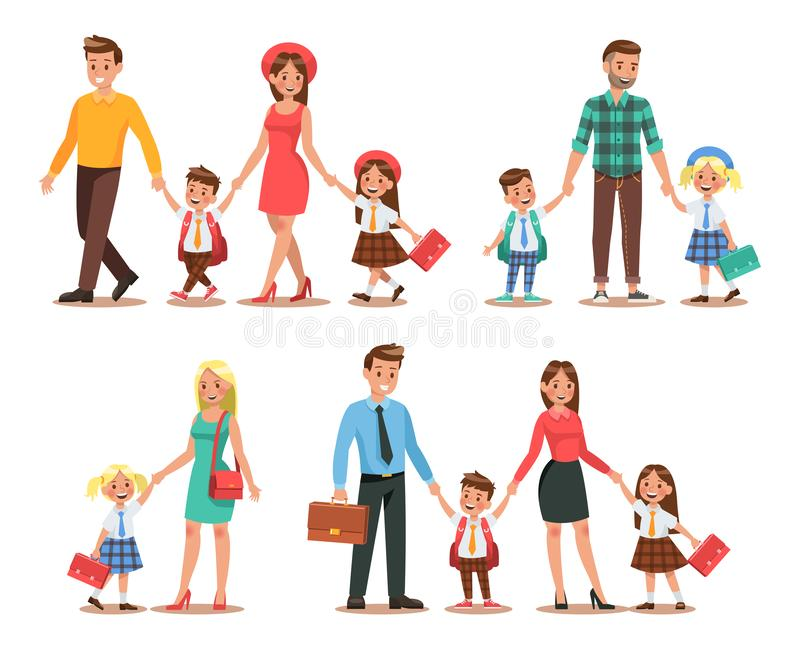 Familjlivsstil Föräldrar tar deras barn till skolan i morgonen Lyckliga ungar går till skolan Ingen 1 royaltyfri illustrationer