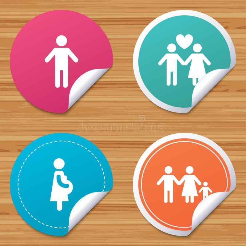 Familjlivstidsymboler Par älskar och havandeskap stock illustrationer
