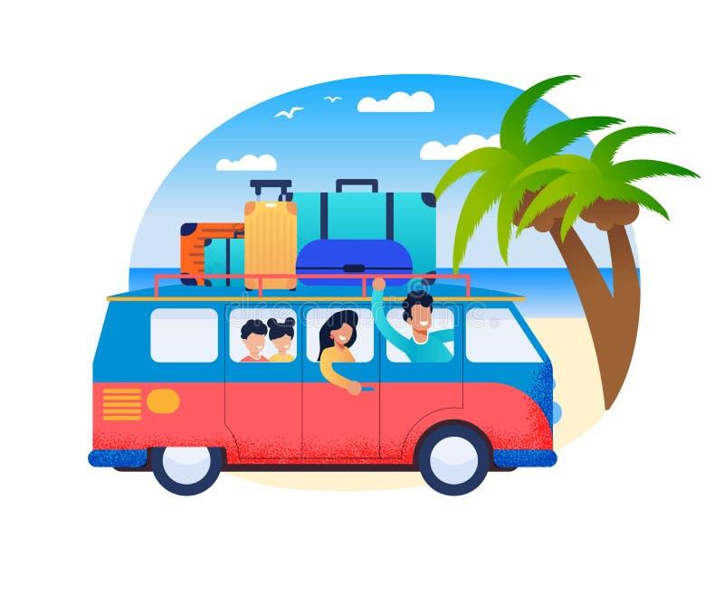 Familjloppfader Drive Minivan med barn royaltyfri illustrationer