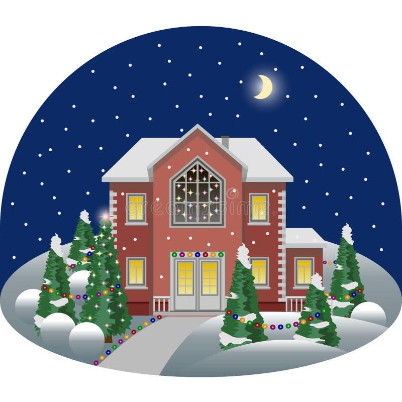 Familjmangårdsbyggnad i platsen för landskap för tecknad filmnattvinter som dekoreras för jul royaltyfri illustrationer