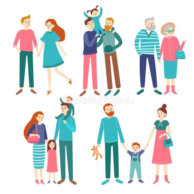 Familjpar Fader och moder med barn, syskongrupp Medlemmar av homosexuella familjer, barn eller åldring royaltyfri illustrationer