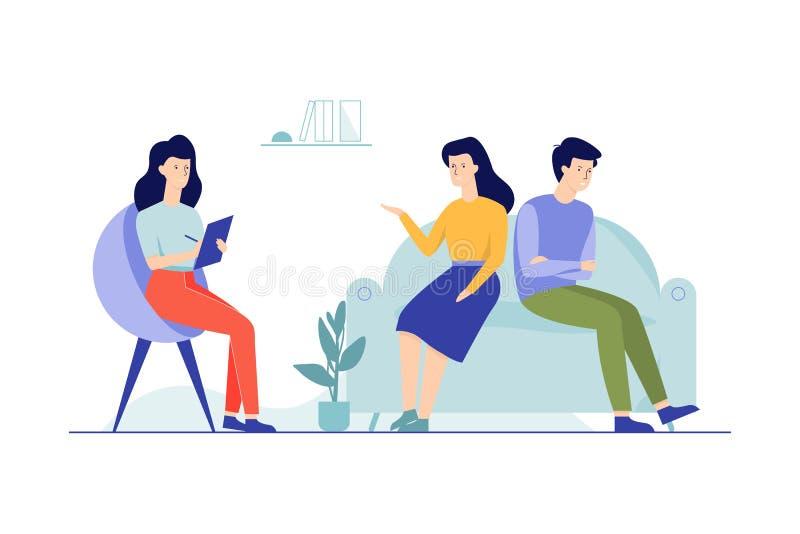 Familjpar som sitter p? soffan som talar till kvinnlign royaltyfri illustrationer