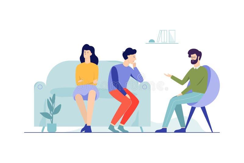 Familjpar som sitter på soffan som talar till manligt royaltyfri illustrationer