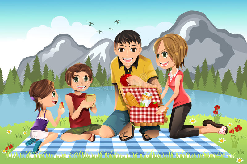 familjpicknick vektor illustrationer