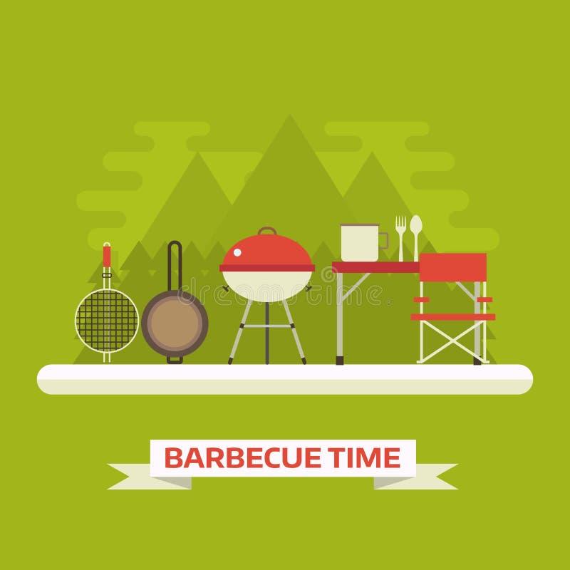 Familjpicknick eller landskap för grillfestbegreppsvektor royaltyfri illustrationer