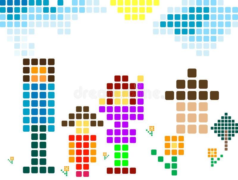 familjPIXEL vektor illustrationer