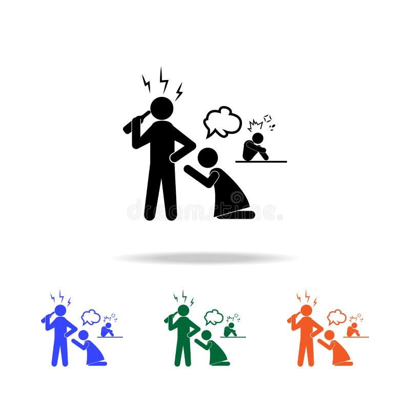 familjproblem med flerfärgade symboler för alkohol stock illustrationer