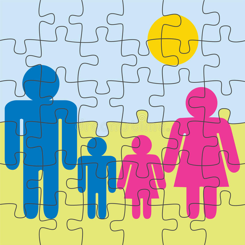 familjpussel vektor illustrationer