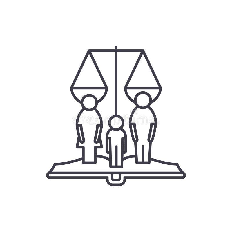 Familjrätter fodrar symbolsbegrepp Linjär illustration för familjrättvektor, symbol, tecken royaltyfri illustrationer