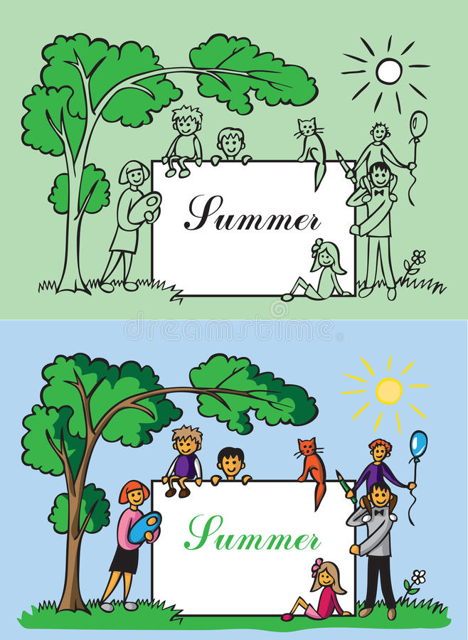 Familjramsommar royaltyfri illustrationer