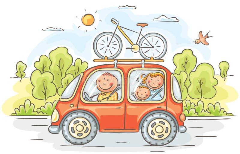 Familjresande med bilen i bygden royaltyfri illustrationer