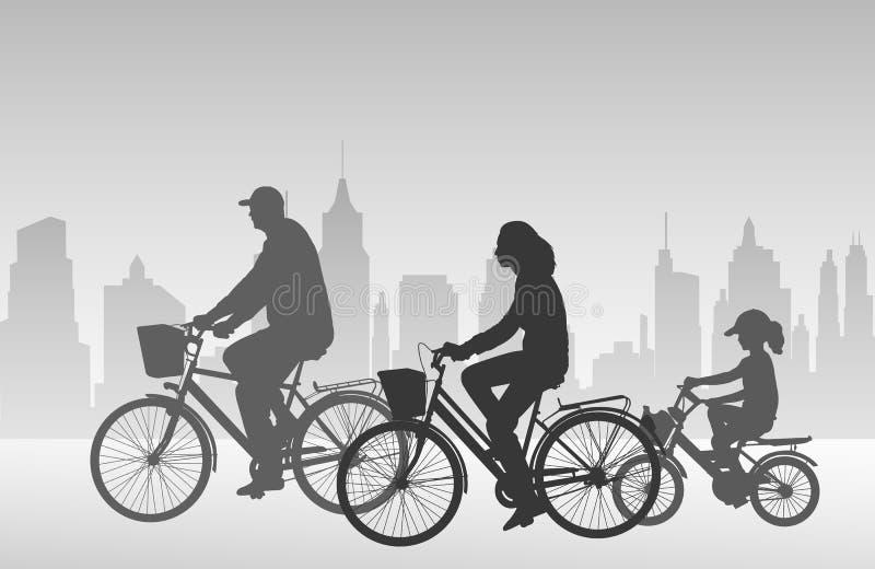 Familjridningen cyklar konturer stock illustrationer
