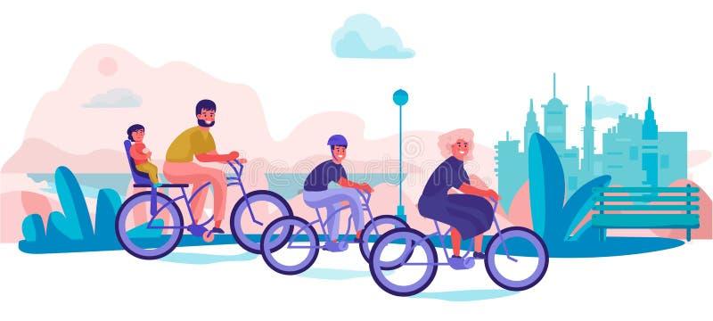 Familjridningen cyklar parkerar in Föräldrar och barn semestrar turen, moderiktiga tecknad filmtecken som gör sportaktiviteter royaltyfri illustrationer