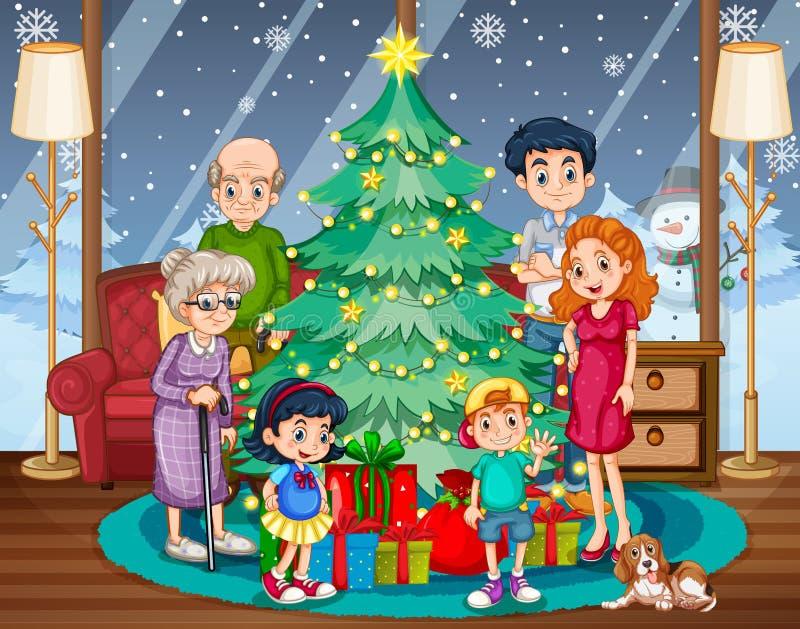 Familjsammankomst på jul vektor illustrationer