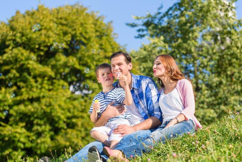 Familjsammanträde på ängen som spelar med såpbubblor royaltyfri fotografi