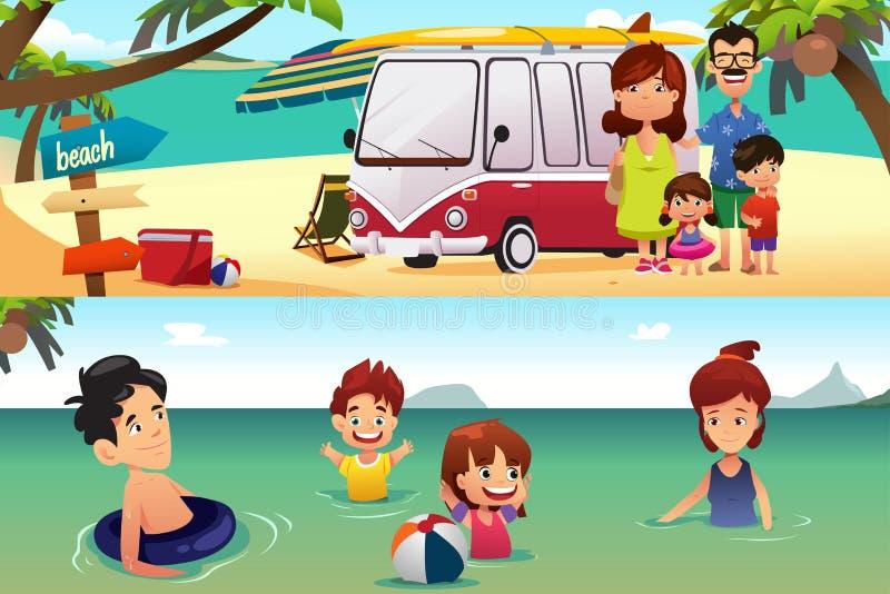 Familjsemester på stranden stock illustrationer