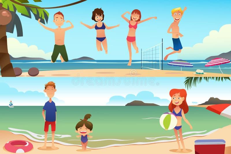 Familjsemester på stranden vektor illustrationer