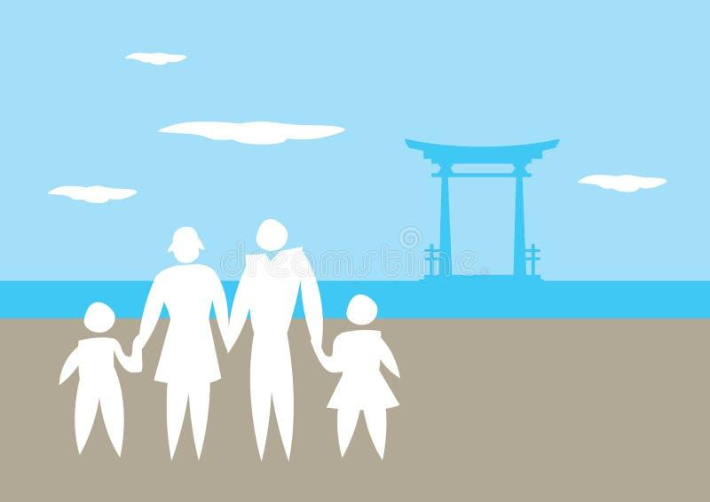 Familjsemester till den Japan vektorillustrationen stock illustrationer