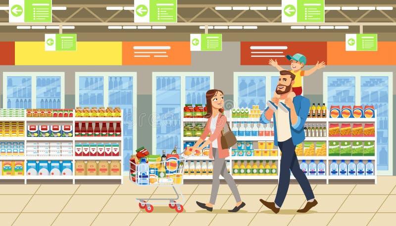 Familjshopping i supermarket med produktvagnen Roliga tecknad filmtecken Föräldrar och barnet på shoppar royaltyfri illustrationer