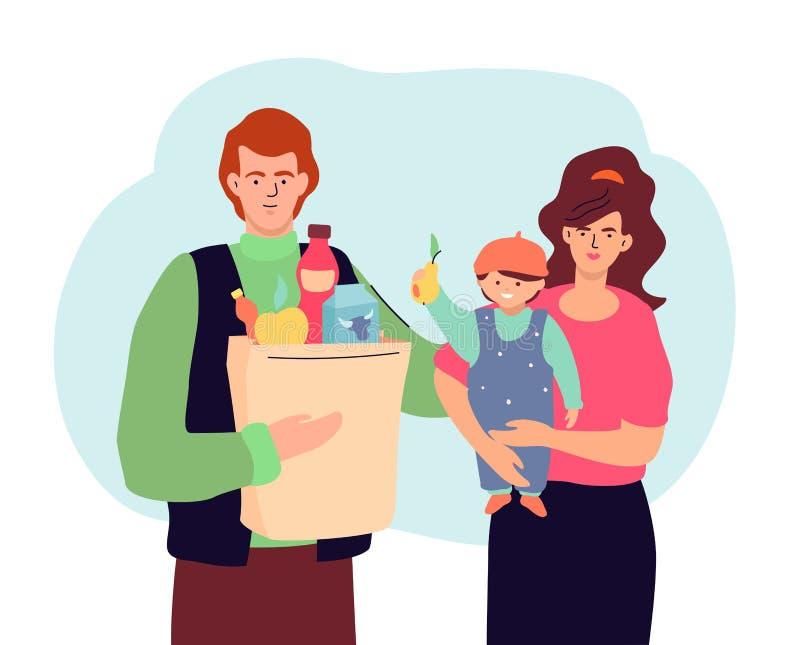 Familjshopping - modern f?rgrik plan designstilillustration vektor illustrationer