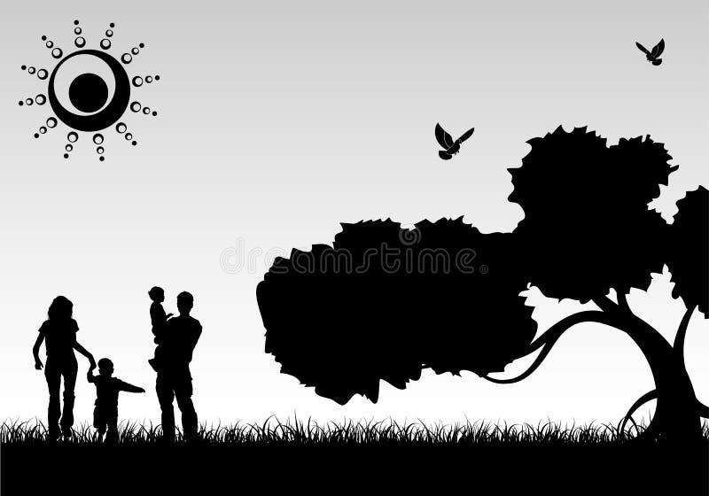familjsilhouette royaltyfri illustrationer