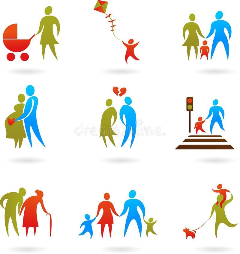 Familjsilhouettes - 2 stock illustrationer