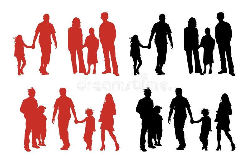 familjsilhouettes stock illustrationer