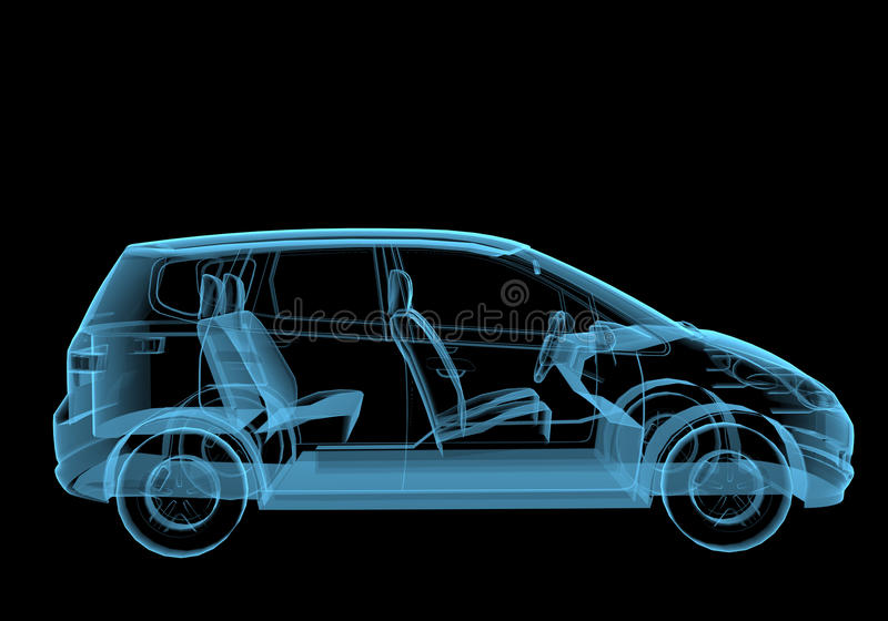 Familjskåpbil stock illustrationer