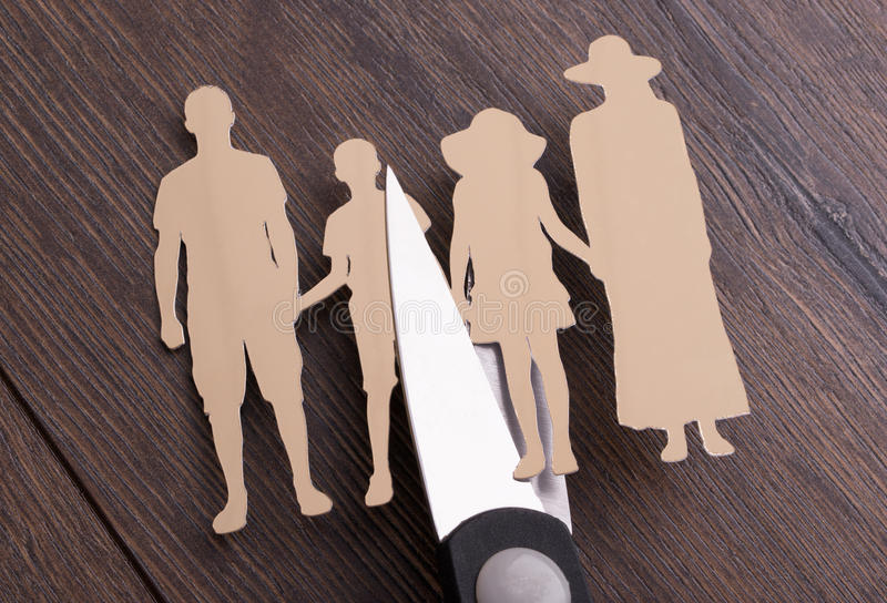 Familjskilsmässabegrepp arkivfoto