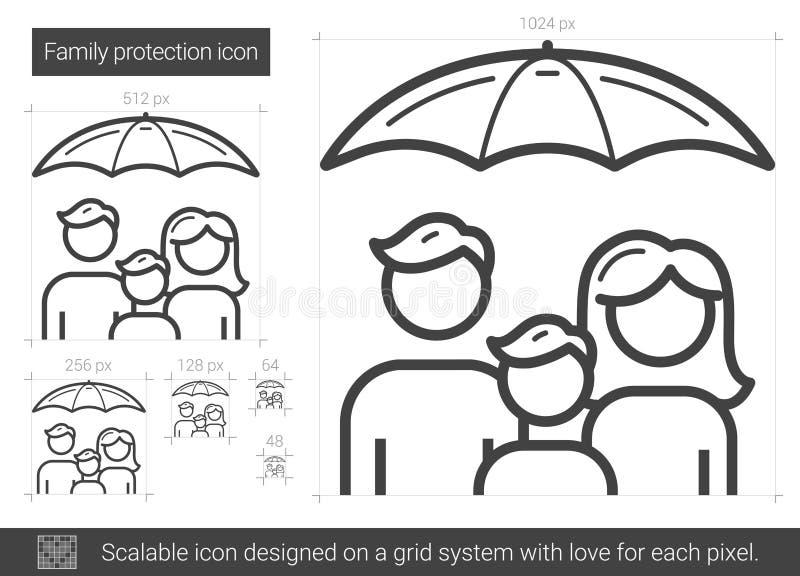 Familjskyddslinje symbol vektor illustrationer