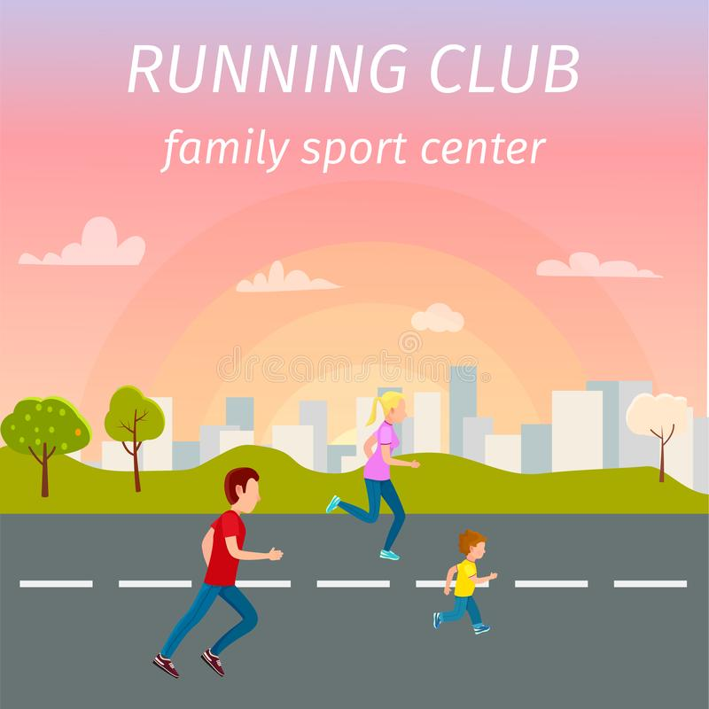 Familjspring på Asphalt Road från sportmitt vektor illustrationer