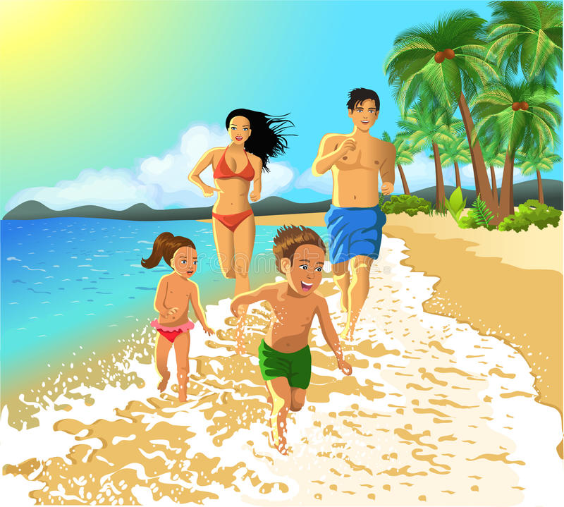 Familjspring på stranden stock illustrationer
