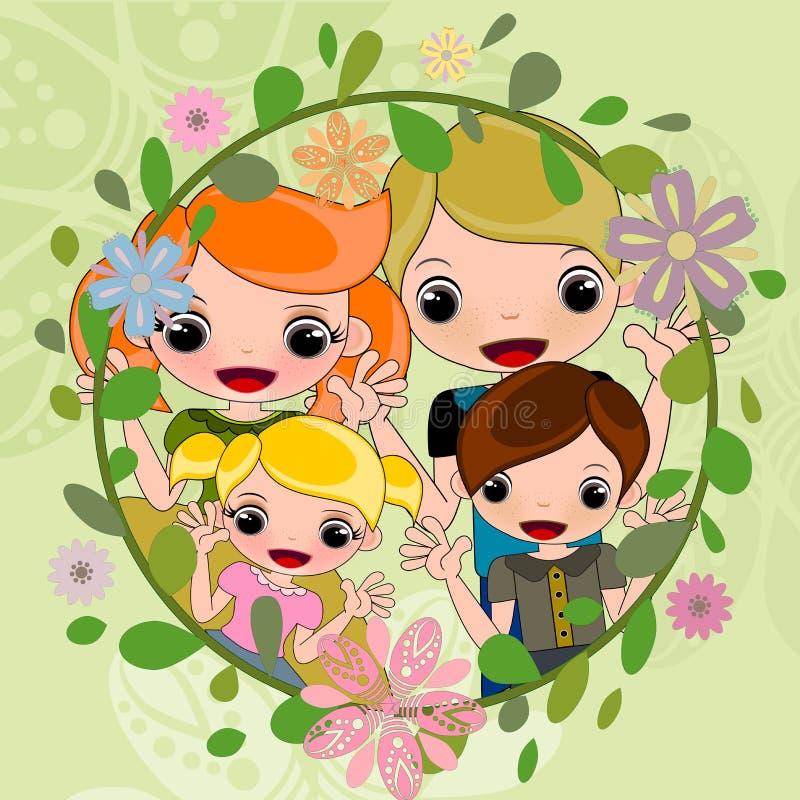 Familjstående i blommakransillustrationer vektor illustrationer