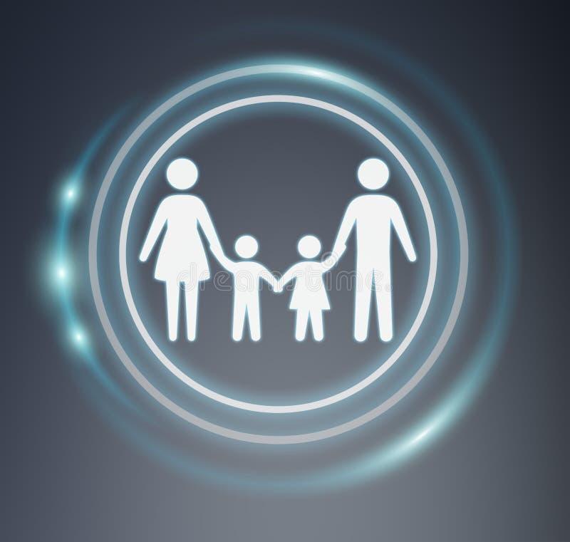 familjsymbol för tolkning 3D royaltyfri illustrationer
