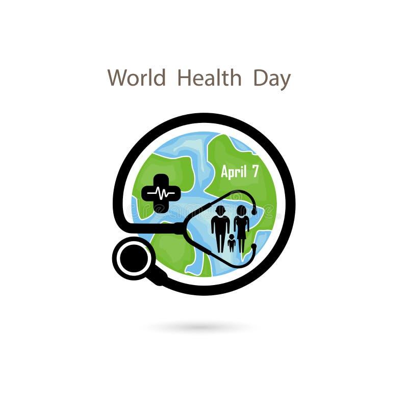 Familjsymbol, jordklottecken och mall för design för stetoskopvektorlogo Symbol för dag för världshälsa Begrepp för aktion för id stock illustrationer