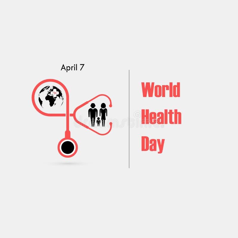 Familjsymbol, jordklottecken och mall för design för stetoskopvektorlogo Symbol för dag för världshälsa Begrepp för aktion för id vektor illustrationer
