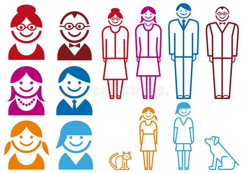 familjsymbolsset vektor illustrationer