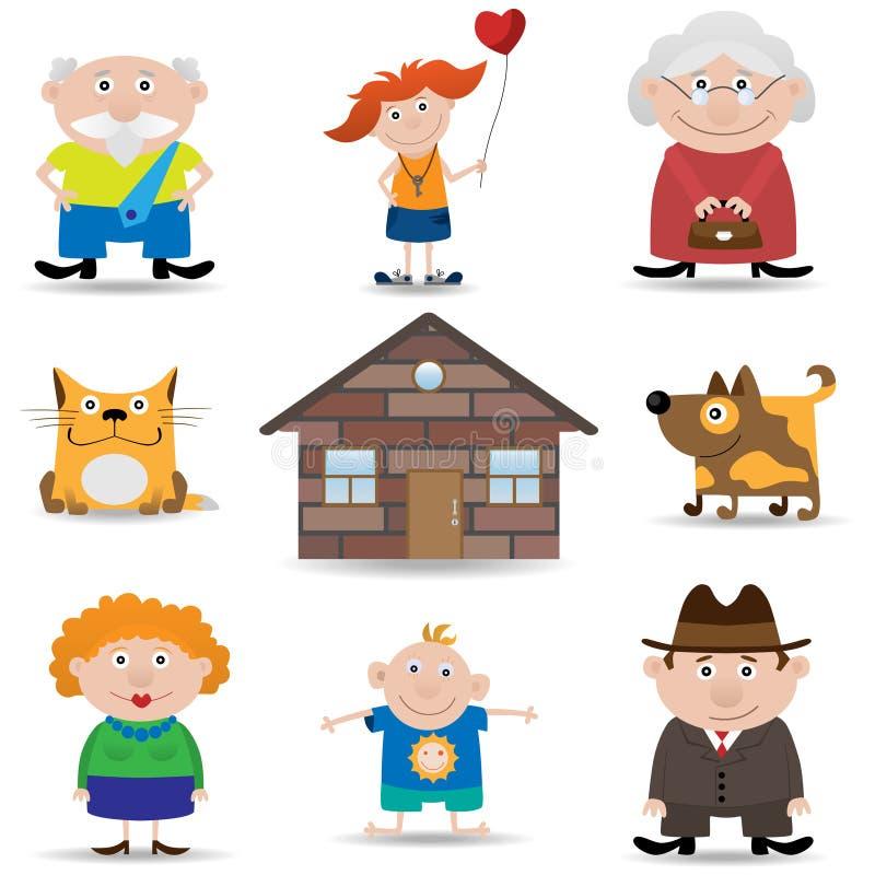 familjsymbolsset stock illustrationer