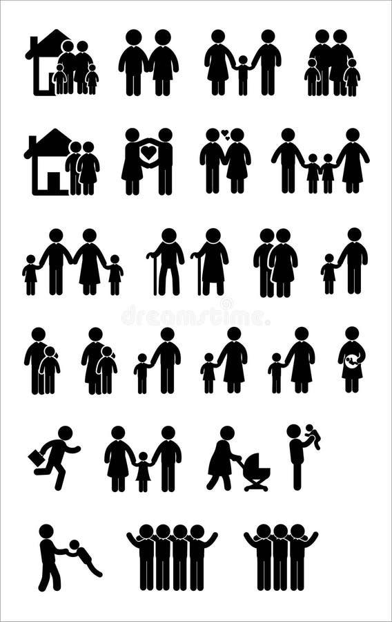 Familjsymbolsuppsättning stock illustrationer