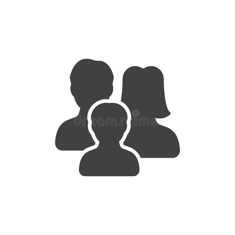 Familjsymbolsvektor, fyllt plant tecken vektor illustrationer