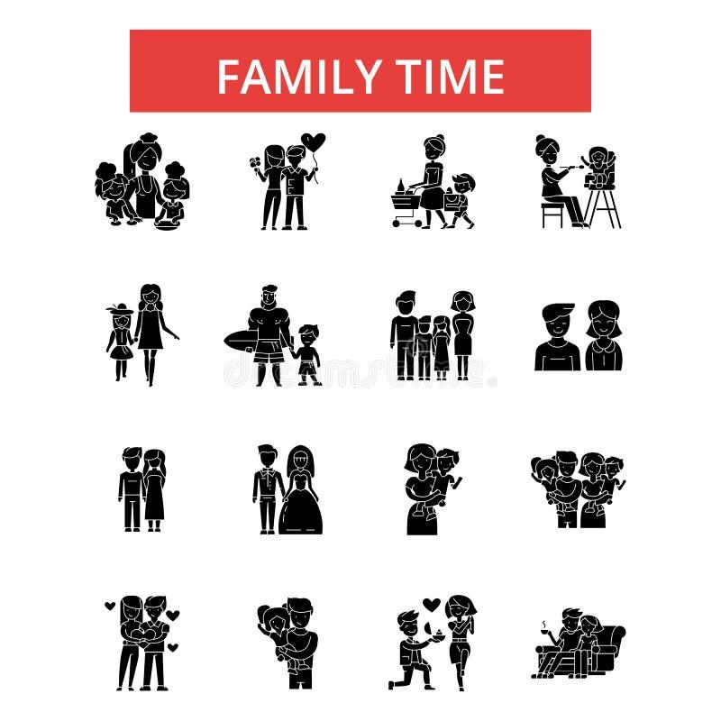 Familjtidillustrationen, gör linjen symboler, linjärt plant tecken, vektorsymboler tunnare vektor illustrationer