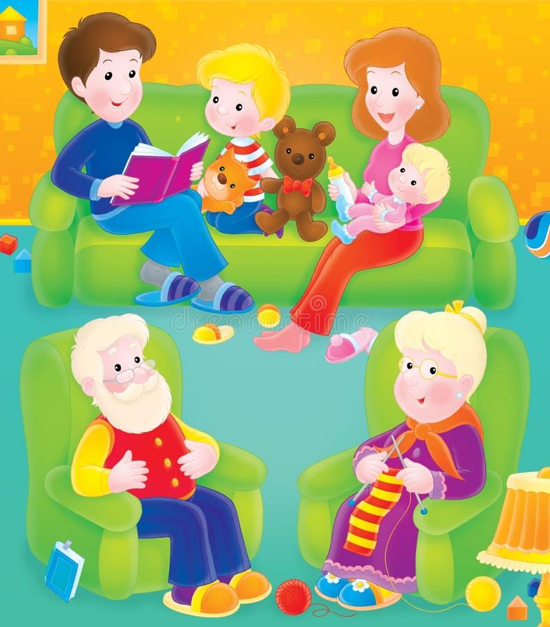 familjtimmefritid stock illustrationer